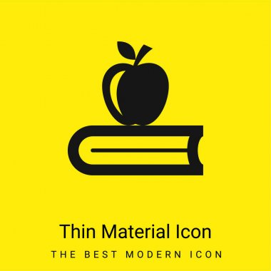 Book With Apple minimal bright yellow material icon stock vector