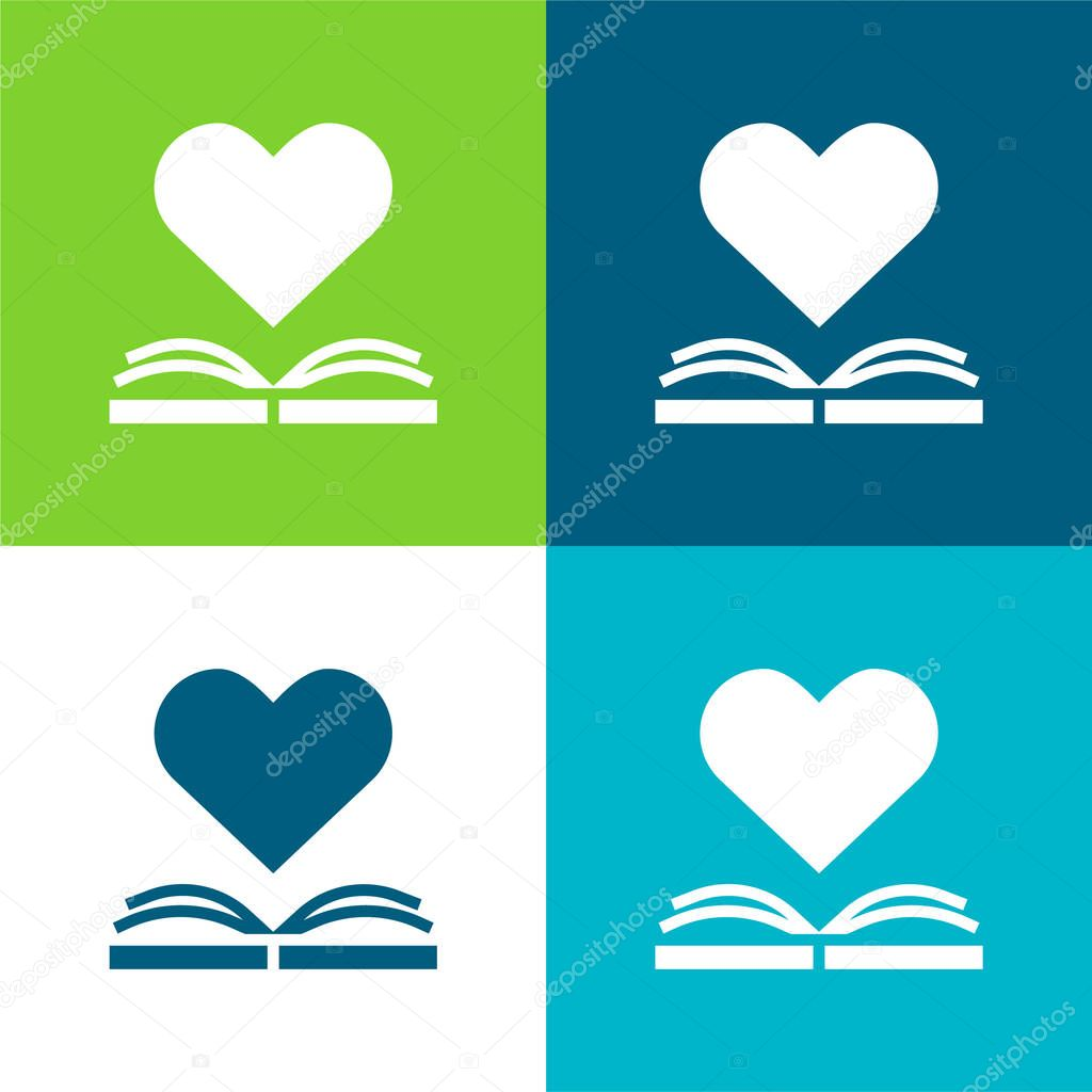 Book Flat four color minimal icon set stock vector