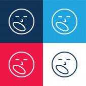 Nuda modrá a červená čtyři barvy minimální ikona nastavena