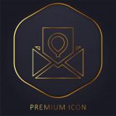 Narozeninová karta zlatá čára prémie logo nebo ikona