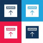Ausrichtung blau und rot vier Farben minimalen Symbolsatz