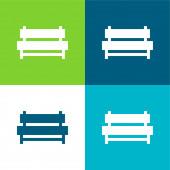 Bench Flat vier Farben minimales Symbol-Set