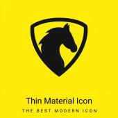 Black Horse Head In A Shield minimální jasně žlutá ikona materiálu