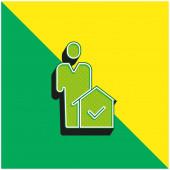 Agent Grünes und gelbes modernes 3D-Vektor-Symbol-Logo