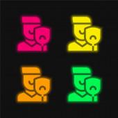 Vier Farben leuchtendes Neon-Vektor-Symbol