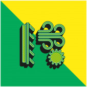 Klíma Zöld és sárga modern 3D vektor ikon logó