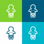 Baba visel pelenka csak vázlat Lapos négy szín minimális ikon készlet