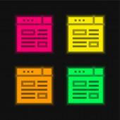 Bloggen vier Farben leuchtenden Neon-Vektor-Symbol