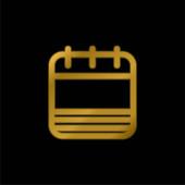 Prázdná stránka kalendáře se zlatými pruhy pozlacená kovová ikona nebo vektor loga