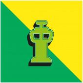 Flughafen-Kontrollturm Grünes und gelbes modernes 3D-Vektorsymbol-Logo