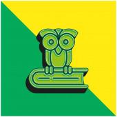 Kniha Zelená a žlutá moderní 3D vektorové logo ikony