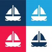 Hajó kék és piros négy szín minimális ikon készlet