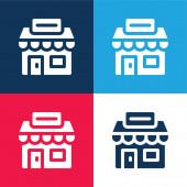 Agentura modrá a červená čtyři barvy minimální ikona nastavena