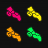 Ballet four color glowing neon vector icon