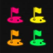 Birdie čtyři barvy zářící neonový vektor ikona