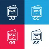 Narozeniny Pozvánka modrá a červená čtyři barvy minimální ikona nastavena