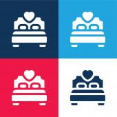 Postel modrá a červená čtyři barvy minimální ikona sada