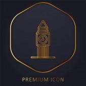 Big Ben zlatá čára prémie logo nebo ikona