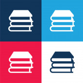 Books Stack blue and red four color minimal icon set