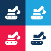 Backhoe blue and red four color minimal icon set