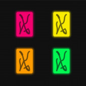 Ace Of Swords four color glowing neon vector icon