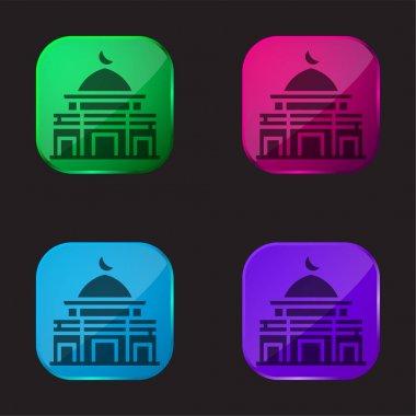 Al Aqsa Mosque four color glass button icon