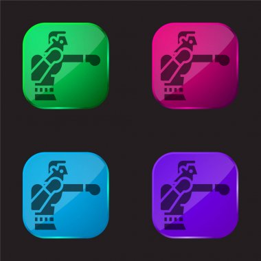 Boxing four color glass button icon stock vector