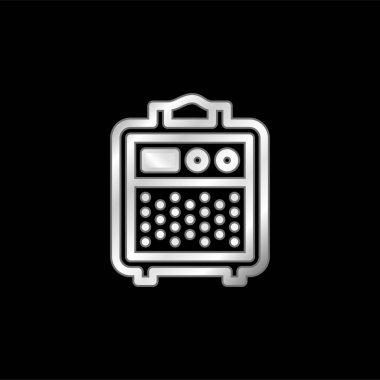 Amplifier silver plated metallic icon stock vector