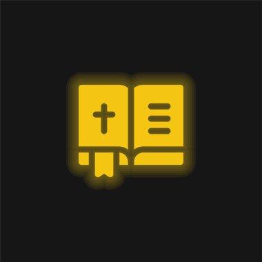 Bible yellow glowing neon icon stock vector