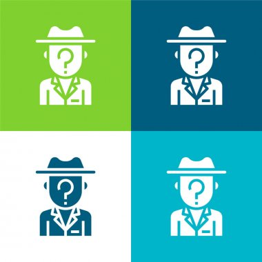 Anonymity Flat four color minimal icon set