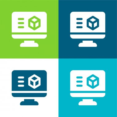 3d Printing Software Flat four color minimal icon set stock vector