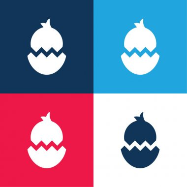 Boken Egg With Chicken blue and red four color minimal icon set stock vector