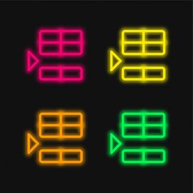 Below four color glowing neon vector icon stock vector