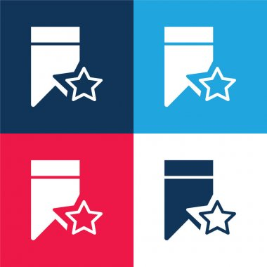 Bookmark blue and red four color minimal icon set stock vector