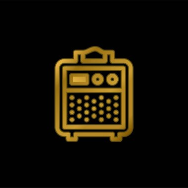 Amplifier gold plated metalic icon or logo vector stock vector