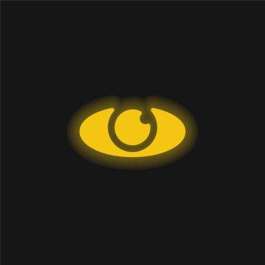 Big Eye yellow glowing neon icon stock vector
