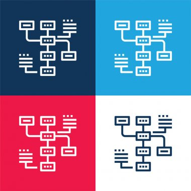 Analysis blue and red four color minimal icon set stock vector