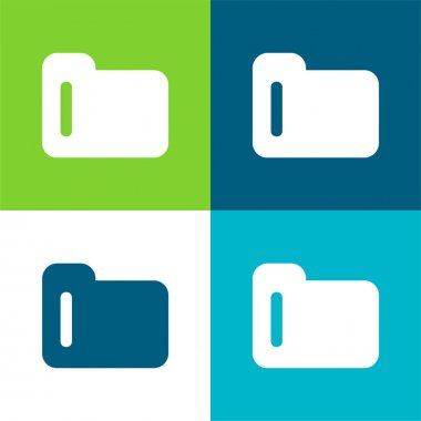 Black Folder Symbol Flat four color minimal icon set stock vector