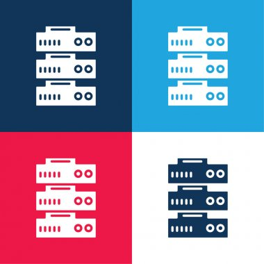 Big Data blue and red four color minimal icon set stock vector