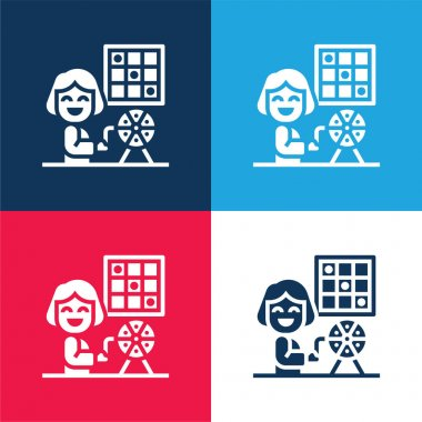 Bingo blue and red four color minimal icon set stock vector