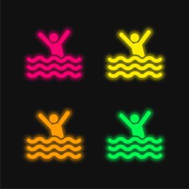 Beach four color glowing neon vector icon stock vector