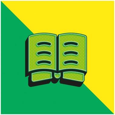 Book Green and yellow modern 3d vector icon logo stock vector