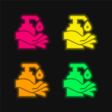 Alcohol four color glowing neon vector icon stock vector