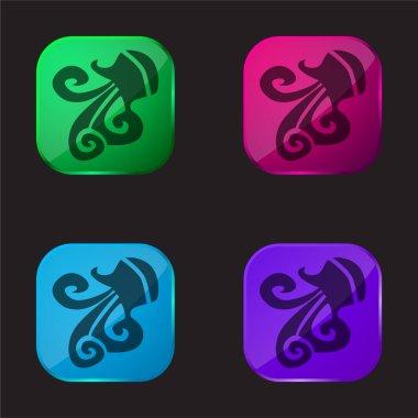 Aquarius Zodiac Sign Symbol four color glass button icon stock vector