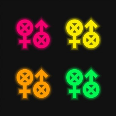 Biphobia four color glowing neon vector icon