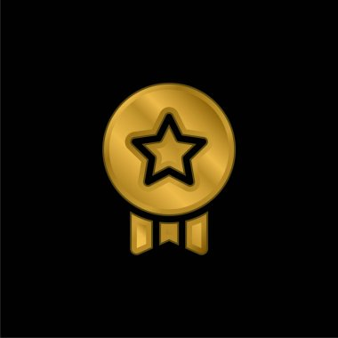 Badge gold plated metalic icon or logo vector stock vector