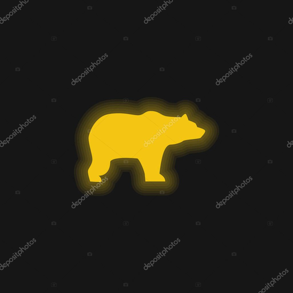 Bear Facing Right yellow glowing neon icon stock vector