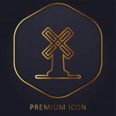 Velký větrný mlýn zlaté linie prémie logo nebo ikona