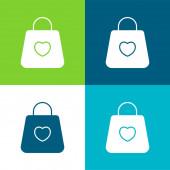 Táska Lakás négy szín minimális ikon készlet