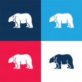 Medve kék és piros négy szín minimális ikon készlet